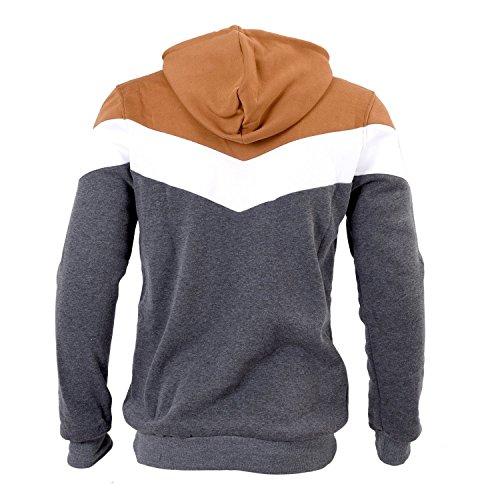 SODIAL (R) Nuovo Autunno & Inverno banda trapuntata con cappuccio cammello Slim Fit felpa abbigliamento da uomo grigio scuro M