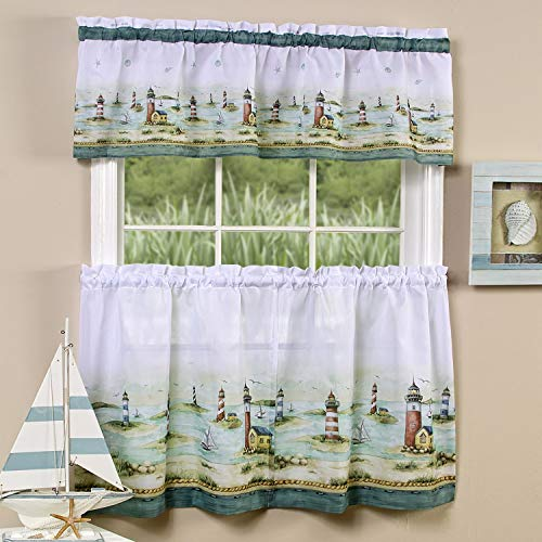 bed bath n more Traditional Two-Piece Tailored Tier and Valance Window Curtains Set with Detailed Lighthouse Print - 36 inch (Lighthouse Kitchen Curtains)