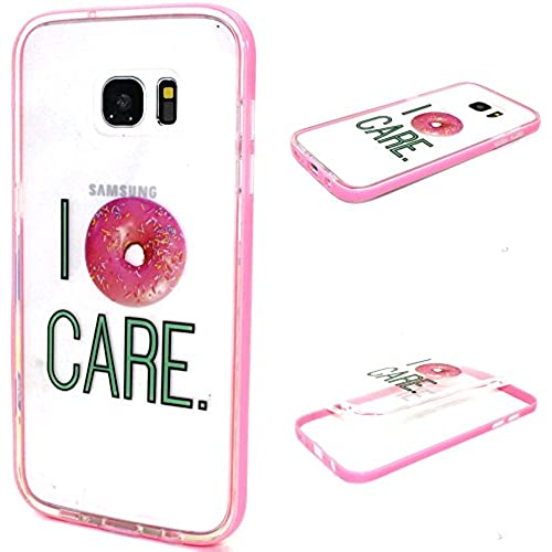 Galaxy S7 Edge Case, Wandeneng Hybrid Fancy Colorful Pattern Hard Soft Silicone Bumper Case Fit for Galaxy S7 Edge(2016) (I care) Sales