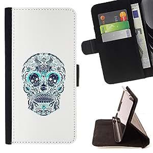 BullDog Case - FOR/HTC One M7 / - / SKULL TEAL WHITE PATTERN FLORAL DEATH /- Monedero de cuero de la PU Llevar cubierta de la caja con el ID Credit Card Slots Flip funda de cuer