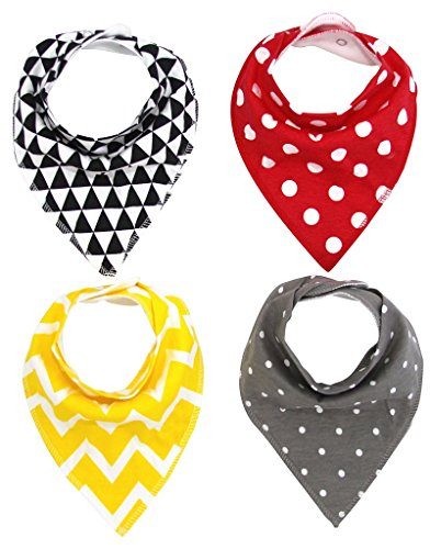 Moo Swaddle (MKONY Baby Bandana Drool Bibs with 2 Snaps,spots & colorful set,4-Pack Soft Absorbent Cotton, Cute Baby Gift for Boys &)