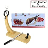 Spanish Ham Holder, Ham frame,Turkish BBQ Holder, Chicken Holder, Italian Ham Stand Spain, Kitchen Holder for Beef, Lamb, Meat. 15x12x6.7in, Natural Pine Wood, Include 15inch Slicing Ham knife
