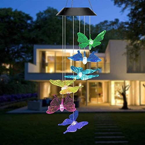 XingTong Solar Butterfly Wind Chime Color Changing Waterproof LED Mobile Solar Powered Colorful Light Butterfly Wind Chimes for Outdoor/Indoor Decor for Home Party Night Garden Decoration
