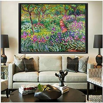 Pintura sobre lienzo Abstracto Claude Monet El jardín del iris en Giverny Pintura al óleo Poster Arte de la pared Imagen Sala de estar Decoración para el hogar 50x70cm (19.7