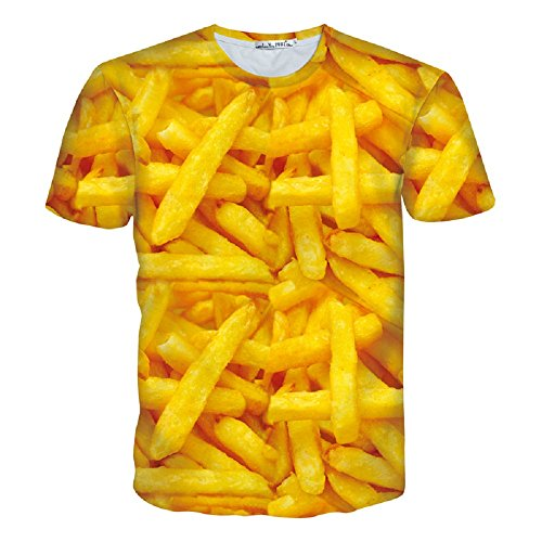 Angelteers Men's 3D Green Marijuana Leaf T-Shirt All Over Print Tees Summer (French Fries Chips, Medium (Bust: 37 in inches))