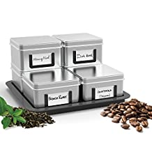 Mind Reader 7-Piece 'Stax' Loose Leaf Tea/Coffee Canisters with Tray, Silver
