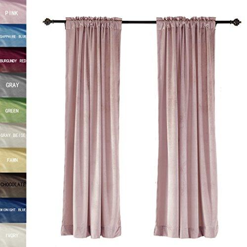 ChadMade Premium Embossed Velvet Window Curtain Drapery Panel Back Tab/Rod Pocket, Pink 72