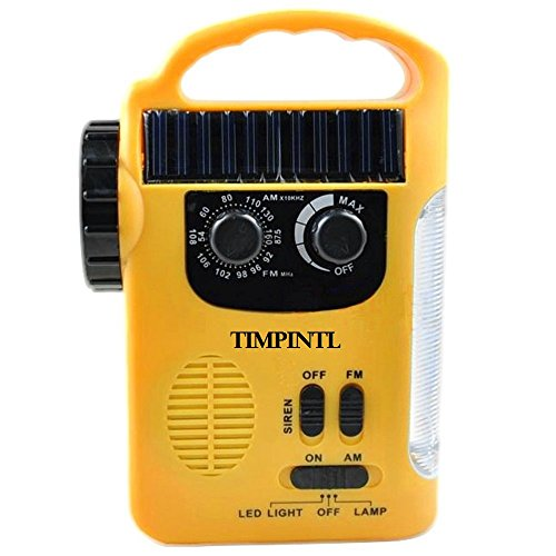 TIMPINTL Emergency AM/FM NOAA Radio, Cell Phone Charger, LED Flashlight, LED Lantern, Siren, Rechargeable Batteries, Hand Crank, Solar Power