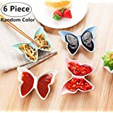 6 Pack Multipurpose Butterfly Shape Seasoning Sauce Dishes, Magnolora Small Appetizer Plates Dipping dish Dinnerware Set - Saucer for Vinegar/Salad/Soy Sauce/Wasabi/Chili Oil