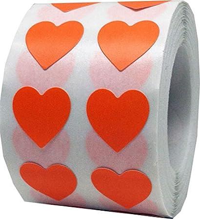 13 mm 1//2 Zoll Breit Rosa Herz Aufkleber 1000 Etiketten auf einer Rolle