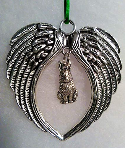 Bunny Memorial with Angel Wings Ornament -