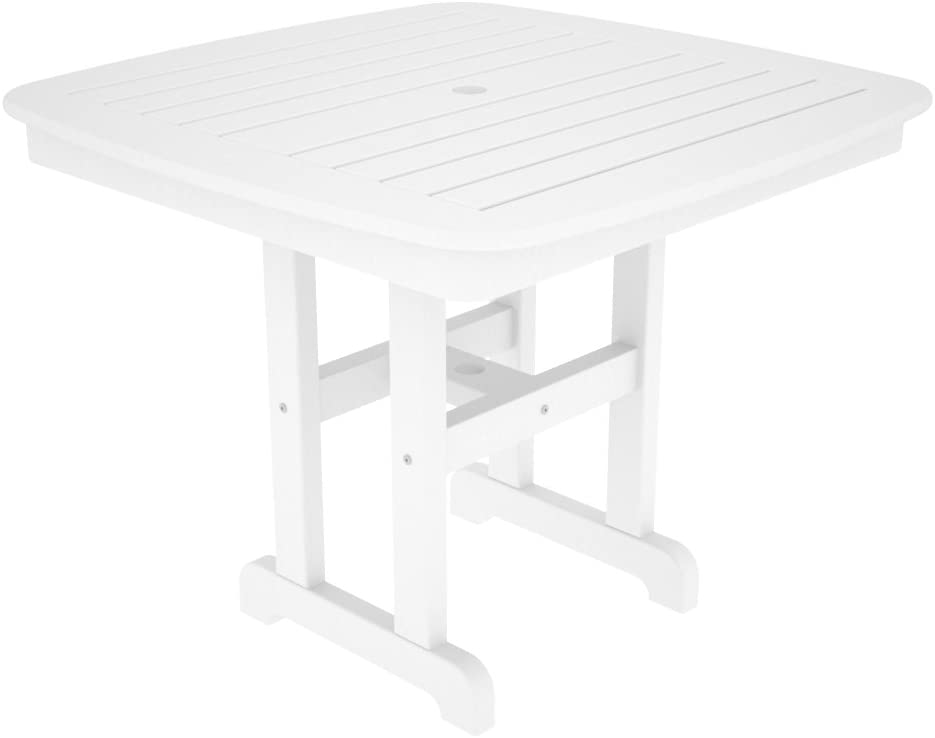 POLYWOOD NCT37WH Nautical Dining Table, 37-Inch, White