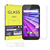 (2 pack) Motorola Moto G 3rd Generation Screen Protector, Premium Tempered Glass, Ultra-Clearity, Anti-Scratch, Bubble-Free, Touchscreen Accuracy