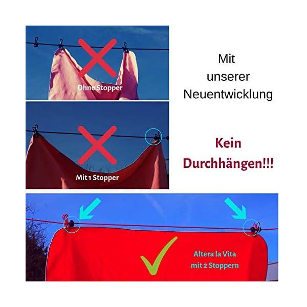 515iEGPeYfL Altera la Vita Camping-Wäscheleine mit Klammern 2 Stück in Aufbewahrungstasche, 180-360 cm, Ideal für Camping Outdoor…