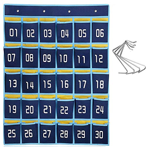 Numbered Hooks 100 (Numbered Classroom Sundries Closet Pocket Chart for Calculator Cell Phones Holder Wall Door Hanging Organizer, 30 Pockets with 4 Hooks)