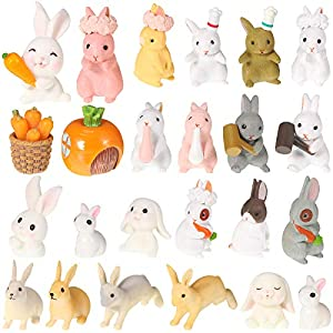 25 pieces easter mini bunny figurines easter cupcake toppers rabbit miniature figurines ornaments collection for easter day christmas birthday present room desk craft decorations