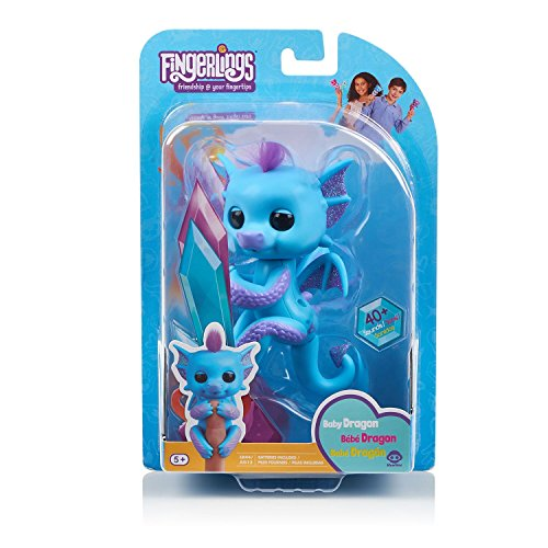 Fingerlings - Glitter Dragon - Tara (Blue with Purple) - Interactive Baby Collectible Pet - by WowWee JungleDealsBlog.com