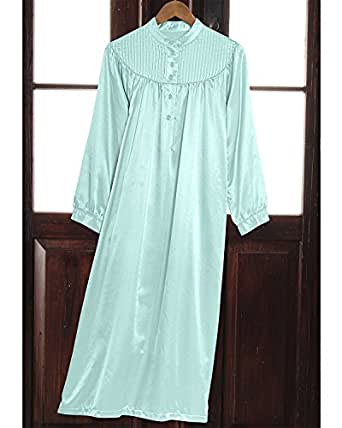 National Brushed Back Satin Nightgown, Aqua, Small - Misses, Womens