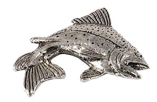 Creative Pewter Designs, Pewter Rainbow Trout Leaping Right, Handcrafted Freshwater Fish Lapel Pin Brooch, Antique Finish, F004PR