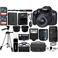 Canon EOS Rebel T6 18MP Wi-Fi DSLR Camera with 18-55mm IS II Lens + EF 75-300mm III Lens + SanDisk 32GB & 16GB Card + Wide Angle Lens + Telephoto Lens + Flash + Grip + Tripod - 48GB Accessories Bundle Benefits Review Image