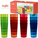 Reusable Plastic Cup Drinkware Tumblers - 16 Assorted colors break resistant 20 oz dishwasher safe drinking stacking water glasses cups! great decorations restaurant quality suitable 4 toddler & kids!