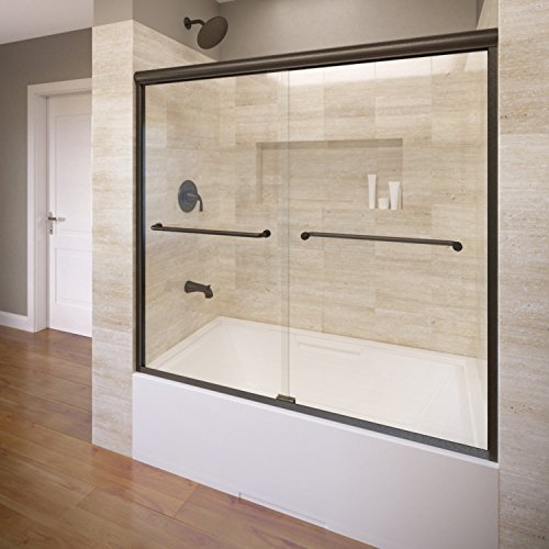 (Basco Infinity Frameless Sliding Tub Door, Fits 56- 58.5 inch opening, AquaglideXP Clear Glass, Oil Rubbed Bronze Finish)