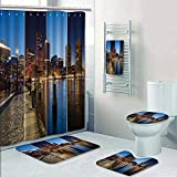 Philip-home 5 Piece Banded Shower Curtain Set Boston Skyline Day to Night Montage Massachu ts USA United States of America Pattern Adornment