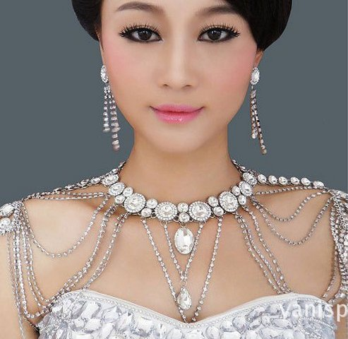 Onebest Wedding Bridal Women Crystal Rhinestone Shoulder Body Chain Necklace Jewelry