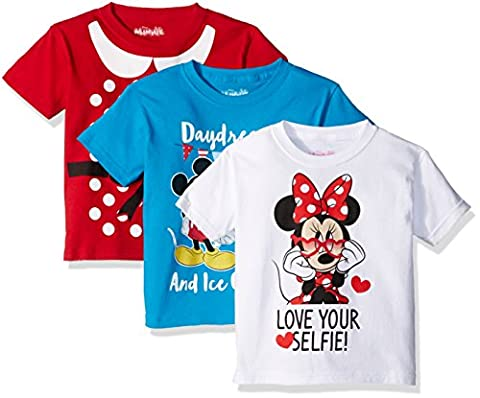 Disney Girls' Little Girls' Minnie Mouse 3-Pack Short Sleeve T-Shirts, Red/Turquoise/White, 6X - Turquoise Girls Shirt