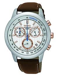 Seiko SSB211P1 Reloj de Vestir para Hombre, color Blanco/Marrón