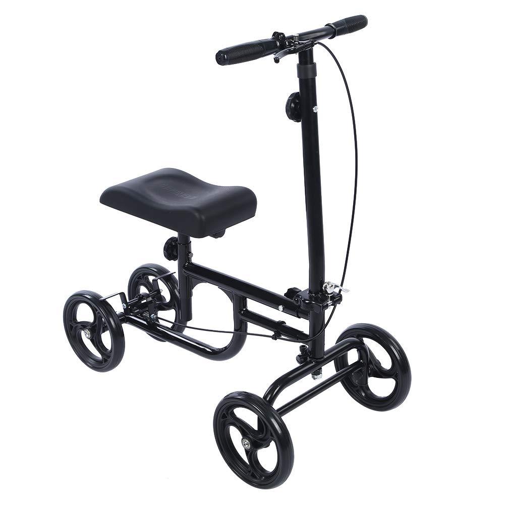 ELENKER Economy Knee Walker Steerable Medical Scooter Crutch Alternative Black by ELENKER