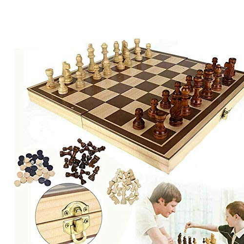 Huahua Wooden Chess Set, 3-In-1Wooden Board Folding Magnetic Double Board Checkers & Backgammon Portable Travel Tabletop Chess Game Toy Set( 24X24Cm)
