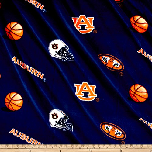 Collegiate Fleece Auburn University Tossed Navy/Orange Fabric By The (University Fleece Fabric)