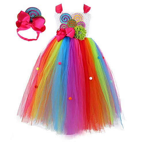 Tutu Dreams Rainbow Lollipop Candy Tutu Dress Kids Girls Birthday Party Ringmaster Circus Clown Costumes Halloween (Rainbow, -