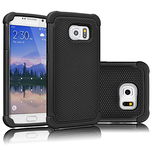 Tekcoo for Galaxy S6 Case, [Tmajor Series] [Black/Black] Shock Absorbing Hybrid Rubber Plastic Impact Defender Rugged Slim Hard Case Cover Shell for Samsung Galaxy S6 S VI G9200 GS6 All Carriers