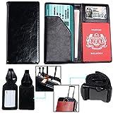 XeYOU Passport Holder Travel Wallet Vegan Leather Passport Case Cover Air Ticket Holder (Black)