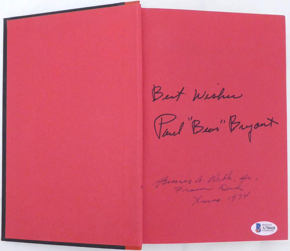 Paul Bear Bryant Autographed Book Alabama Crimson Tide Best Wishes Beckett Authentic