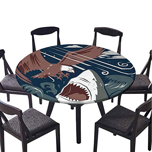 SATVSHOP Round tablecloth-40 Round-Antifouling tablecloths,for Daily use,Sea Animal Modern Murky Motley of The Battle of Shark vs. Eagle Attack Fight Power Brown Blue.(Elastic Edge)