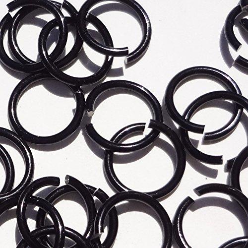 BLACK Anodized Aluminum Jump Rings 100 3/8 16g SAW CUT