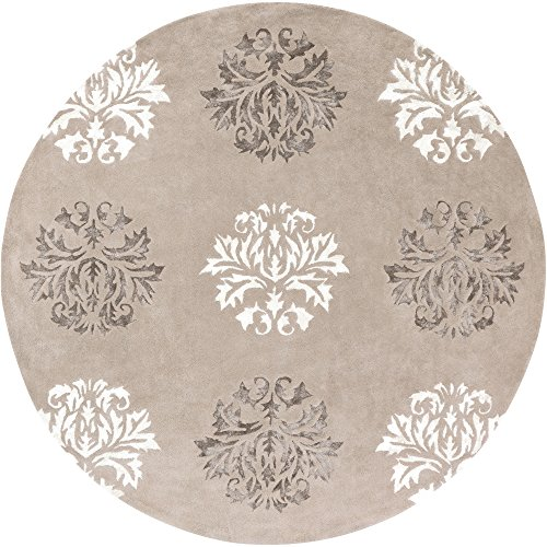 Driftwood Brown Rug - Surya Tamira TAM-1041 Transitional Hand Tufted 100% Wool / Viscose Driftwood Brown 8' Round Floral Area Rug