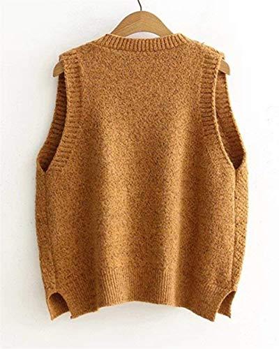Tricot Bouffant V Vintage Femme Unie Hiver Tricot Pullover sans Gilet Cou Manches Automne en El Couleur wvpqnRS
