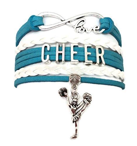 Cheer bracelet, Cheerleading bracelet, love infinity bracelet, sports bracelet, leather bracelet (light blue and white) -