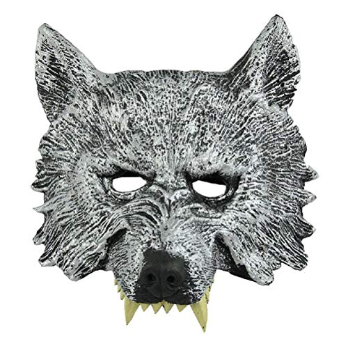 Wolf Head Mask - Szs Grey Wolf Head Mask Masquerade - Mask Wolf Furry Head Grey Party Masks Horror Mask Anim Cosplay Helmet Halloween Wolf Tokyo Mascara Latex Costume Kaneki Ghoul Spide -