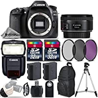 Canon EOS 80D DSLR Camera + 50mm 1.8 STM Lens + Canon Speedlite 430EX III-RT + 64GB Storage + Backup Battery + UV-CPL-FLD Filters + Wrist Grip Strap + Wireless Remote - International Version