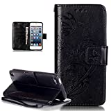 iPod Touch 6 Case,iPod Touch 5 Case,iPod Touch 6/5 Case,ikasus Embossing Flower Vines Butterfly Flip PU Leather Flip Wallet Pouch Stand Credit Card ID Holders Case for iPod Touch 6/iPod Touch 5,Black