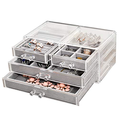 NXhome Jewelry Box for Women with 3 Drawers,Acrylic Jewellery Organizer for Earring Bangle Bracelet Necklace and Rings Storage