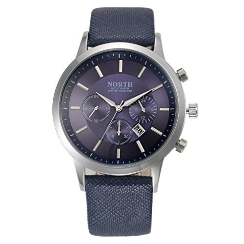 NORTH Sports Luxury Mens Genuine Leather Band Analog Quartz Watches Wrist Watch Blue