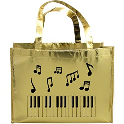 Music Notes & Keyboard Metallic Gold Tote Bag