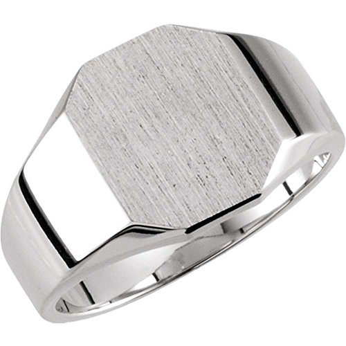 11.00X09.00 mm Octagon Signet Ring in 14k White Gold ( Size 6 ) (Ring Octagon Signet White Gold)