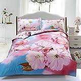 Suncloris,4pcs Queen Size Duvet Cover Set,3d Cherry Blossoms Bedding Set Comforters Duvet Cover Quilt Bed Linen Sheet Bedspread
